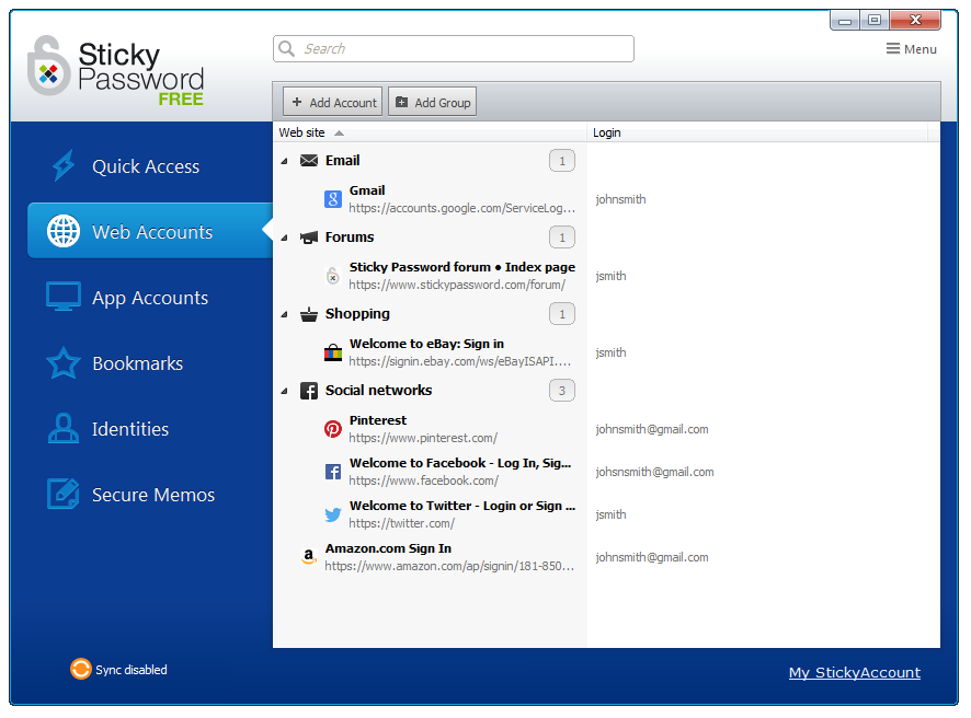 Click to view Sticky Password Free 8.1.0.103 screenshot